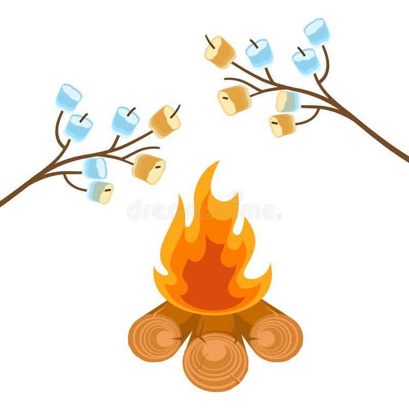 Marshmallow på trädfilialer som lagas mat på brasavektorillustration royaltyfri illustrationer