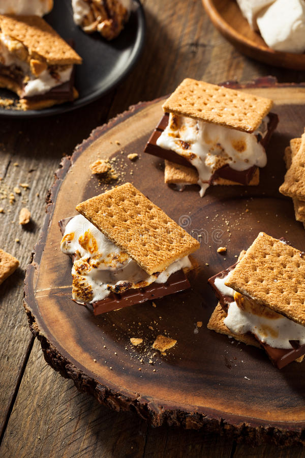 Marshmallow pegajosos caseiro S'mores fotos de stock royalty free