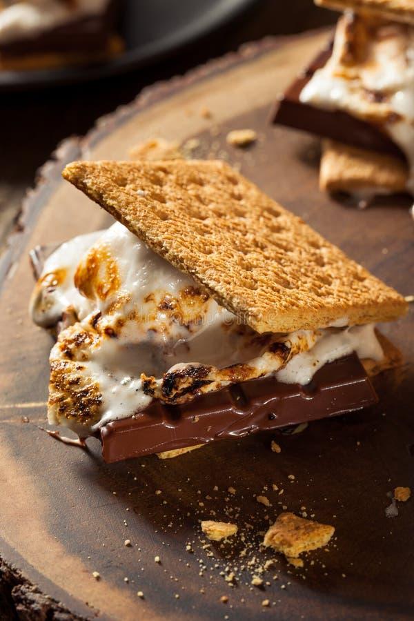 Marshmallow pegajosos caseiro S'mores imagem de stock