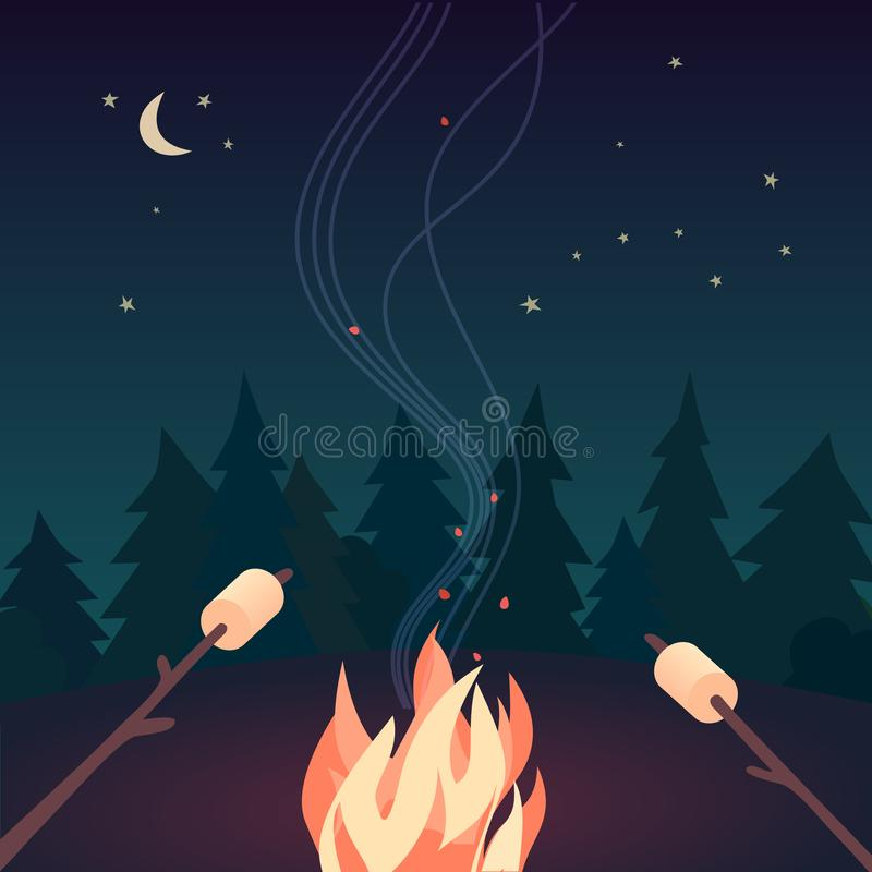 Free Marshmallow Roasting Hand Drawn Flat Color Vector Royalty Free Stock Image - 152961176