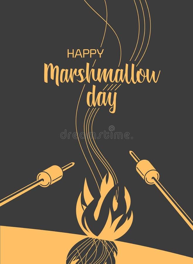 Marshmallow roasting hand drawn flat color vector. Marshmallows roasting hand drawn flat color vector. Happy Marshmallow day poster. Minimal simple style cartoon royalty free illustration