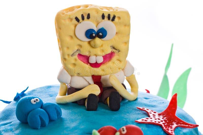 Marshmallow Spongebob Cake Closeup royalty free stock photos