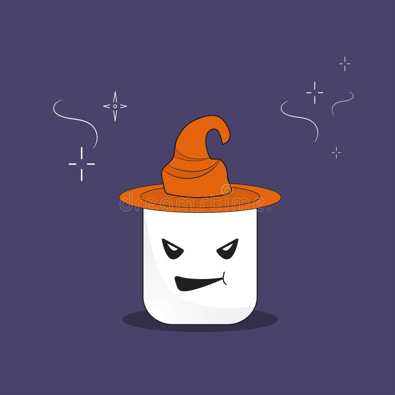Marshmallow witch vector illustration