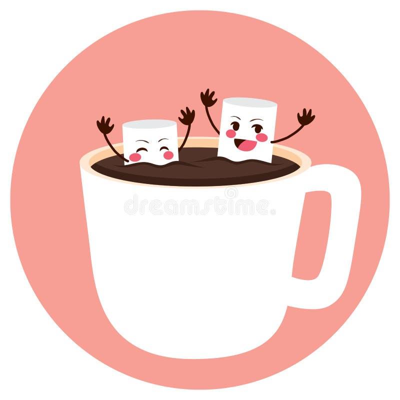 Marshmallower som badar på kakao stock illustrationer