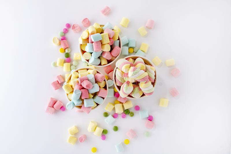 Marshmallows. Background or texture of colorful mini marshmallows. stock images