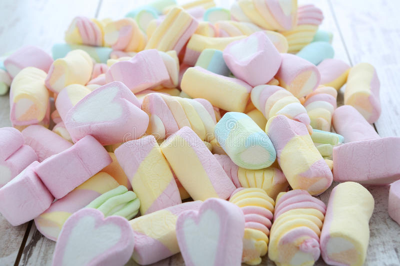 Marshmallows. Colorful marshmallows on a table royalty free stock image