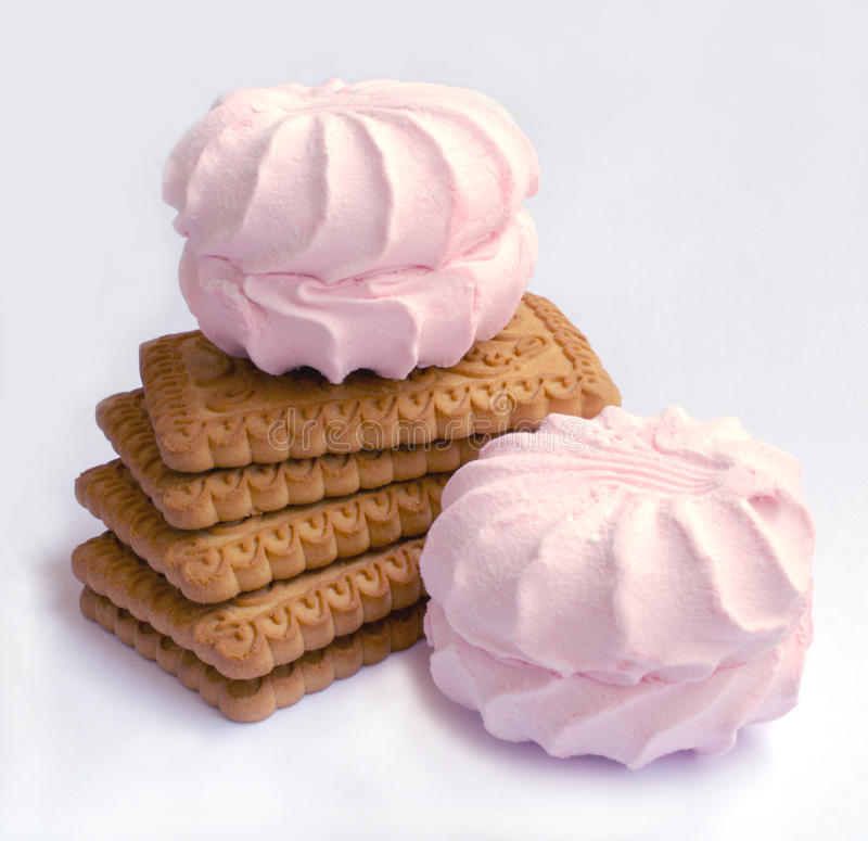 Marshmallows and cookies royalty free stock image