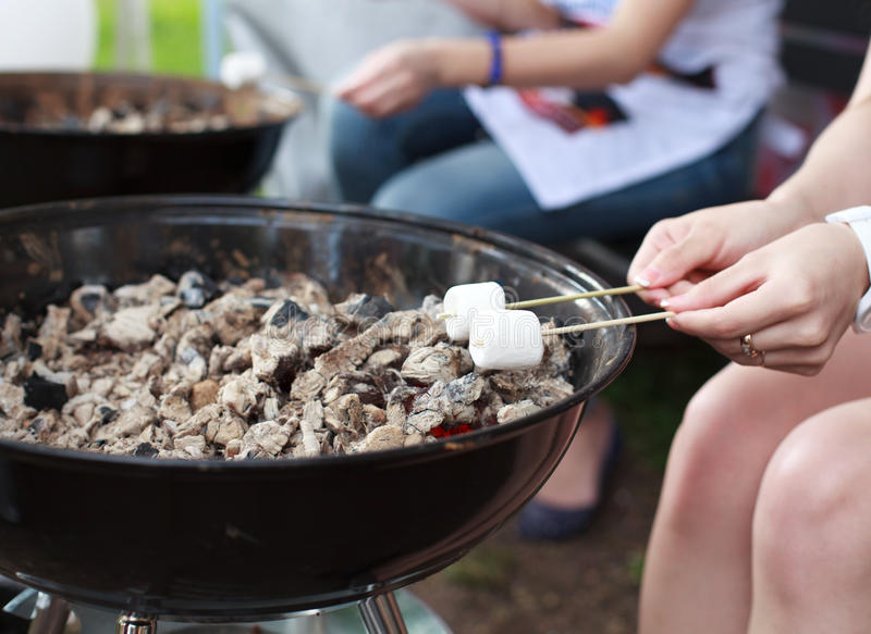 Marshmallows da repreensão em uma vara sobre o fogo. fotos de stock royalty free