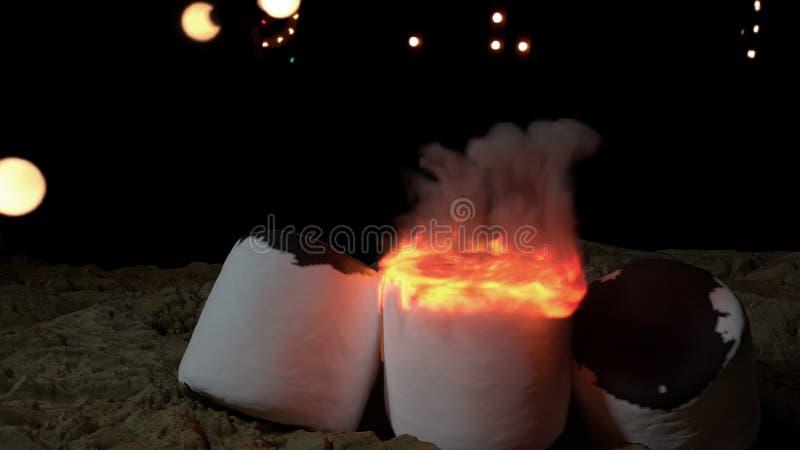 Marshmallows na ogieniu przy nocą ilustracja wektor
