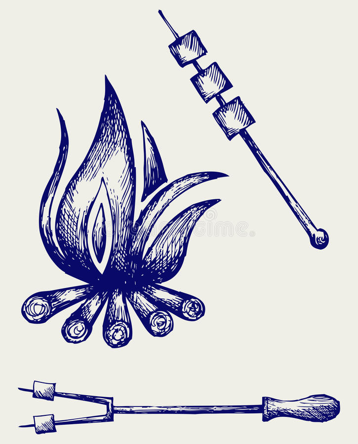Marshmallows nad obozują ogień piec royalty ilustracja