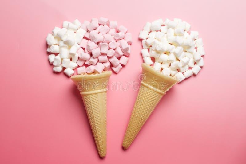 Marshmallows and waffle cones royalty free stock photos
