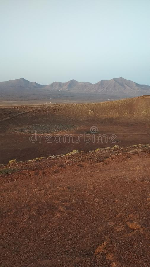 Mountains, Lanzarote. The marsian landscape on a tiny island royalty free stock photography