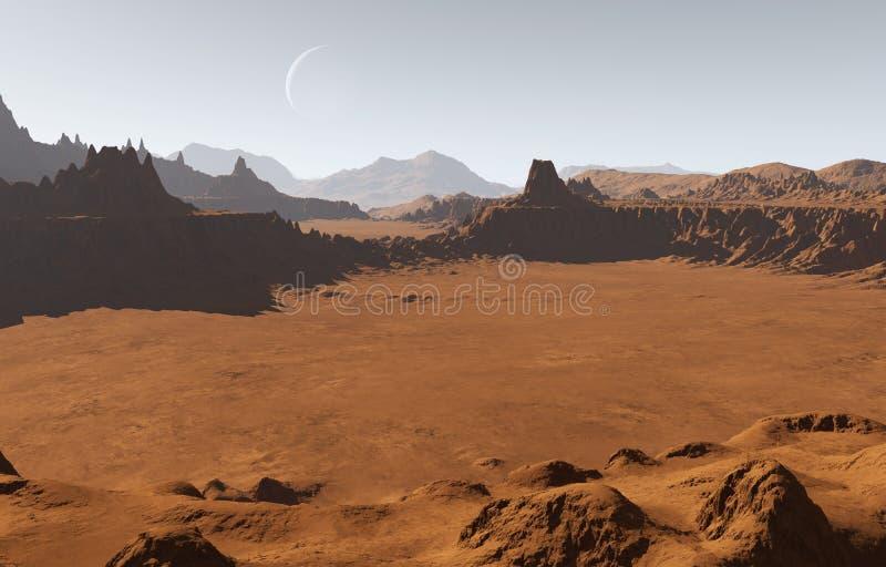 Marsinvånarelandskap med krater och månen stock illustrationer