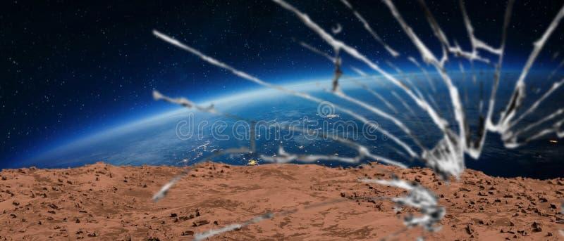 Marsjańska ziemia od łamanego kokpitu royalty ilustracja