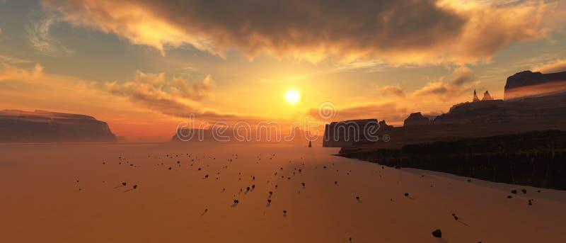 Marsjański krajobraz Panorama Mars zdjęcie royalty free