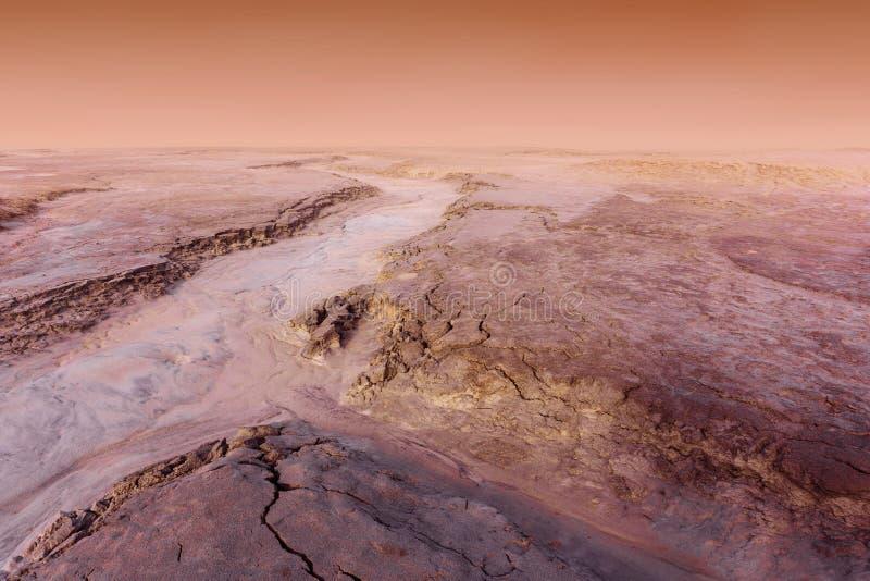 Marsja?ski krajobraz podczas py? burzy zdjęcia royalty free