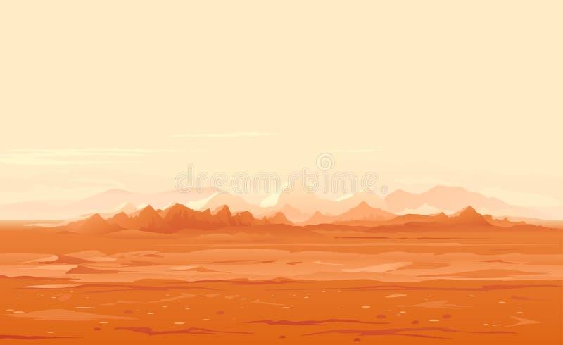 Marsjański nawierzchniowy panorama krajobraz royalty ilustracja