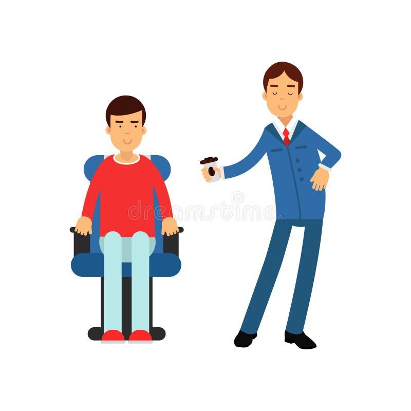 Marskalk i blåa enhetliga portionpassagerare på flygplanet, illustration för vektor för flygbolagarbeteprocess royaltyfri illustrationer