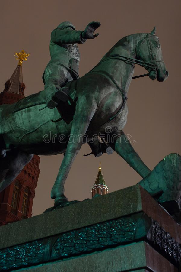 Marskalk Zhukov Monument arkivfoto