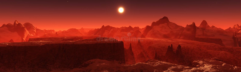 Marslandschaft Panorama von Mars lizenzfreies stockfoto