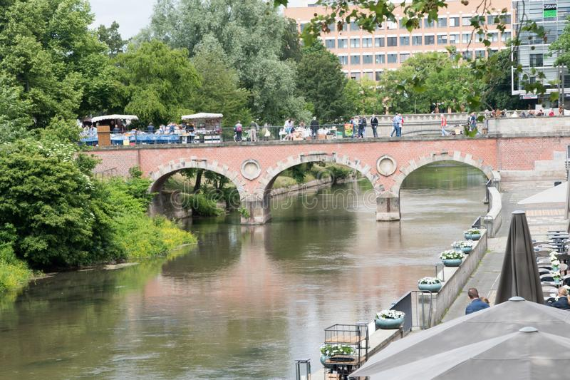 Marstall bridge above Leine river connecting the streets Am Hohen Ufer and Leibnizufer in Mitte quarter of Hannover, Germany.  royalty free stock images