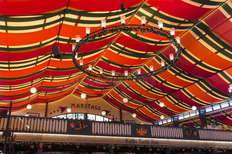 Marstall tent at Oktoberfest in Munich, Germany, 2015. Inside the Marstall beer tent with people celebrating Octoberfest stock photos