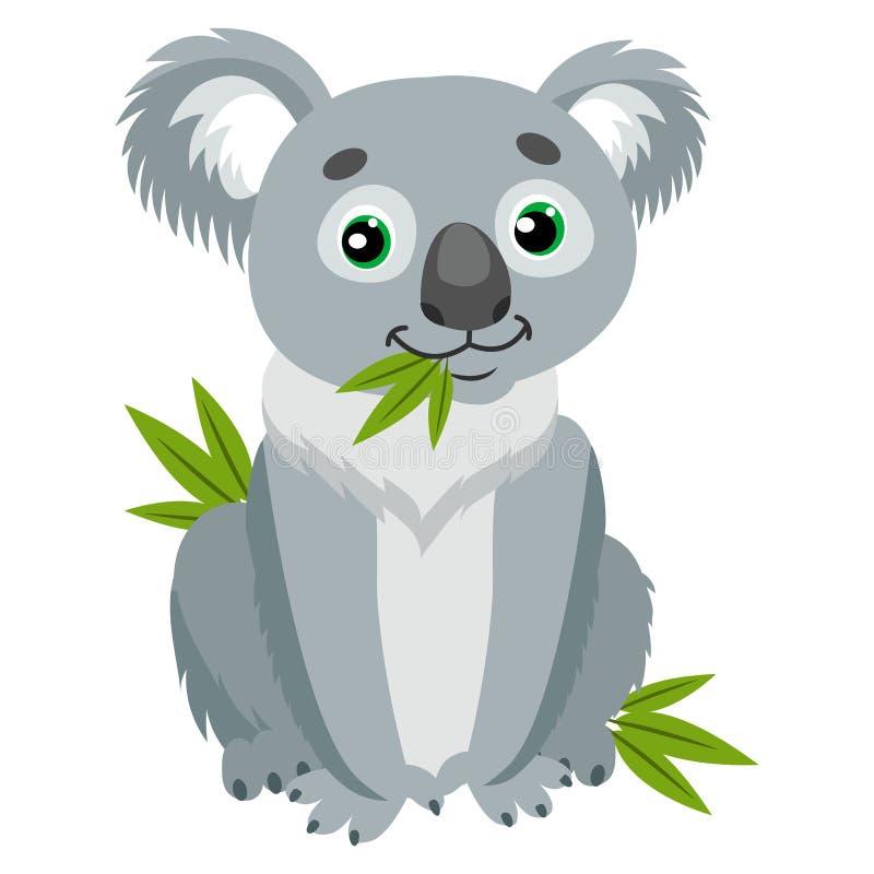 Marsupiaux iconiques Le koala concernent les feuilles vertes Herbivore le plus drôle animal australien se reposant sur l'eucalypt illustration stock