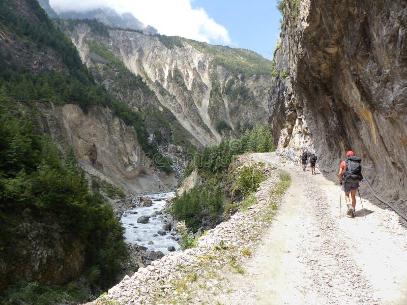 Marsyangdi river valley. Annapurna Circuit trek in Nepal. Marsyangdi river valley near Pisang village stock images