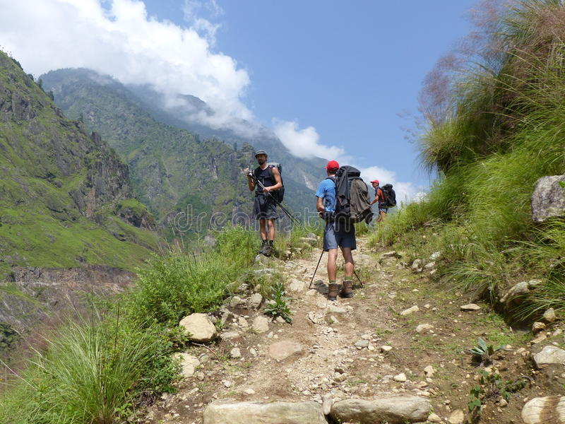 Marsyangdi river valley. Lovely valley on Annapurna circuit trek in Nepal stock photo