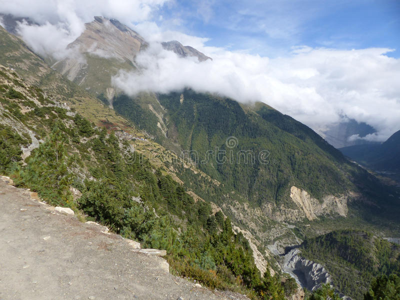 Marsyangdi river valley royalty free stock images