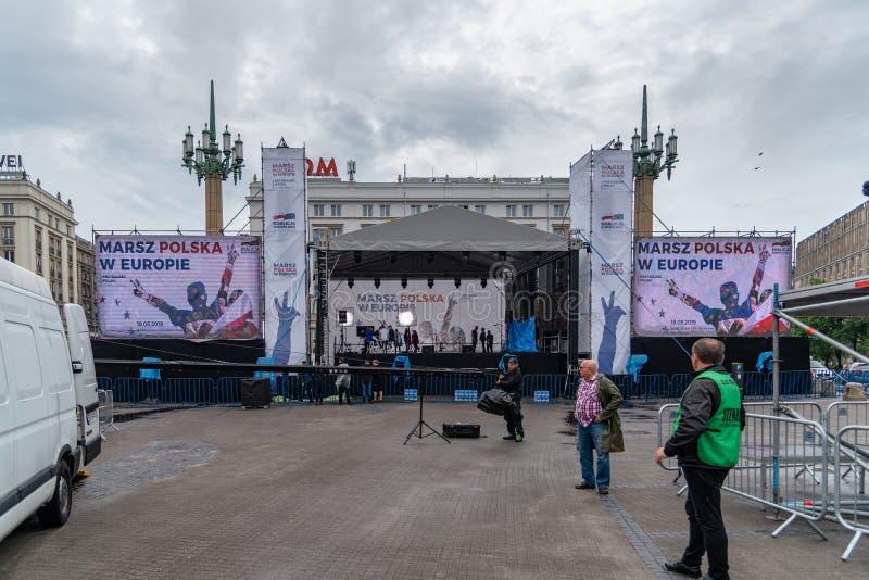 Marsz Polska W Europie. Warsaw to manifest how important Poland`s presence in the European Union is for them. Warsaw, Mazovia Province / Poland - 05/18/2019 stock image
