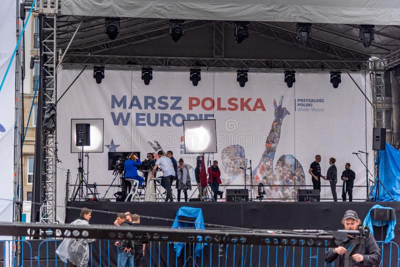Marsz Polska W Europie. Warsaw to manifest how important Poland`s presence in the European Union is for them. Warsaw, Mazovia Province / Poland - 05/18/2019 royalty free stock image