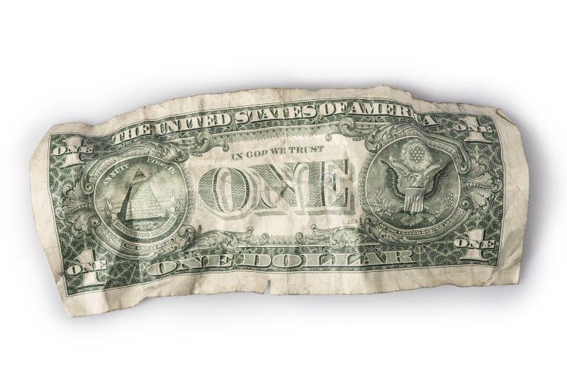 Marszczący jeden dolarowy rachunek zdjęcia royalty free