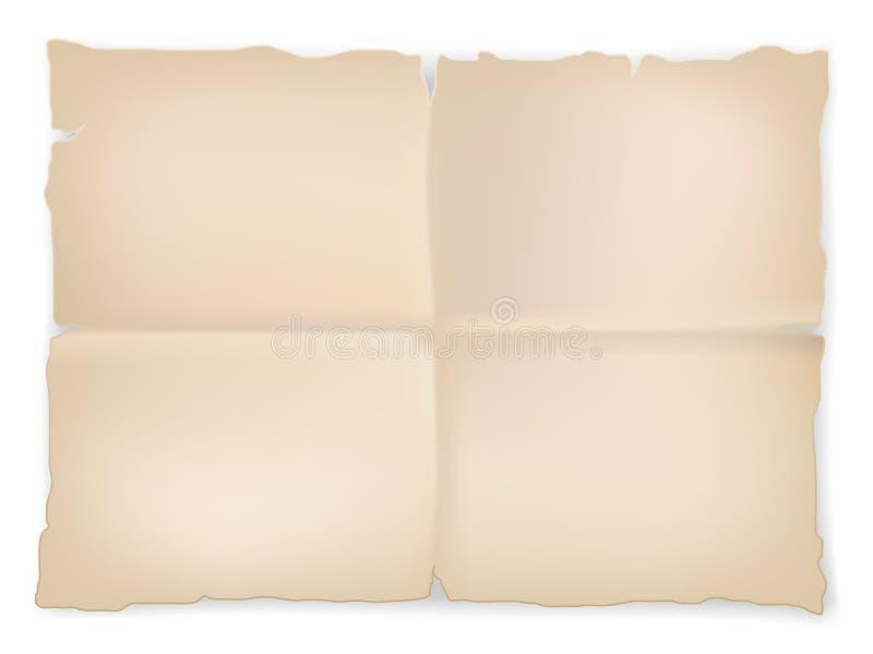 Marszczący stary papieru prześcieradło na białym tle royalty ilustracja