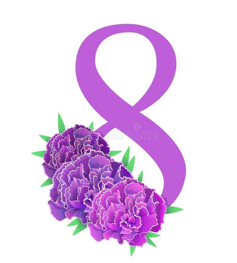8 marszu goździka wektoru fiołkowa kartka z pozdrowieniami Goździków kwiatów karta odizolowywająca ilustracja wektor
