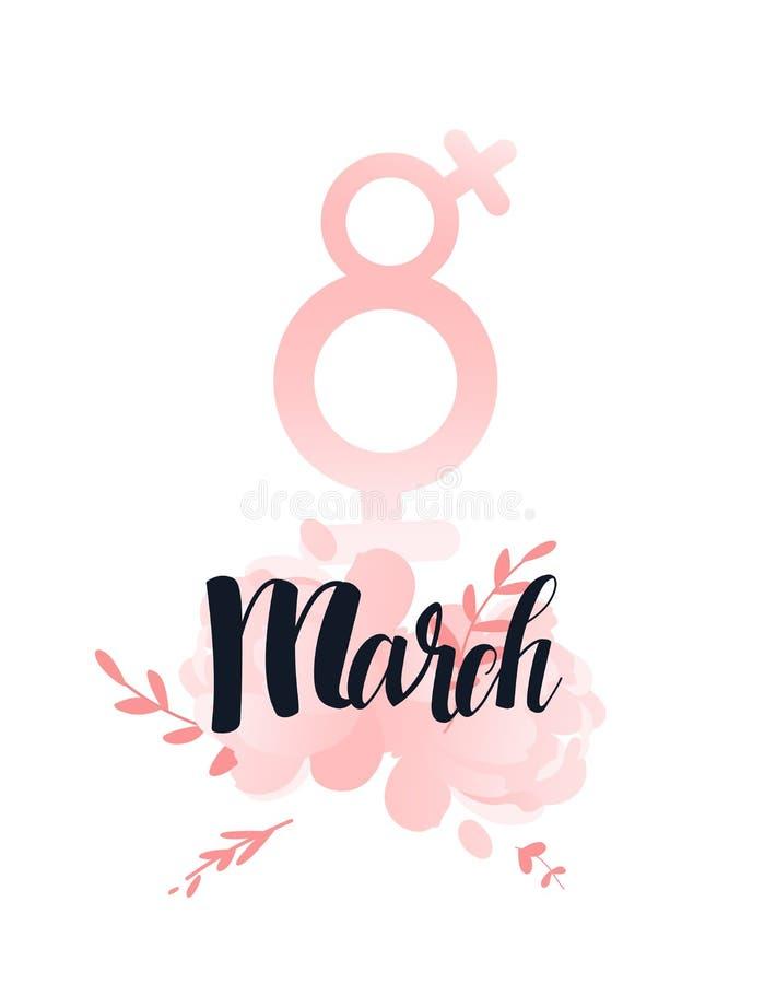 8 marszu kobiet znaka ręka pisze list czarnego atrament Kwiat peonie menchie i liść Międzynarodowy kobieta dzień, kobiety royalty ilustracja
