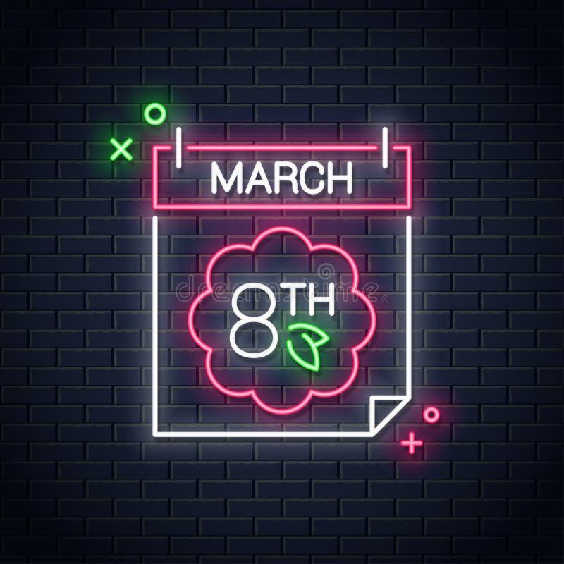 8 marszu neonowy znak Kobieta dnia neonowy kalendarz