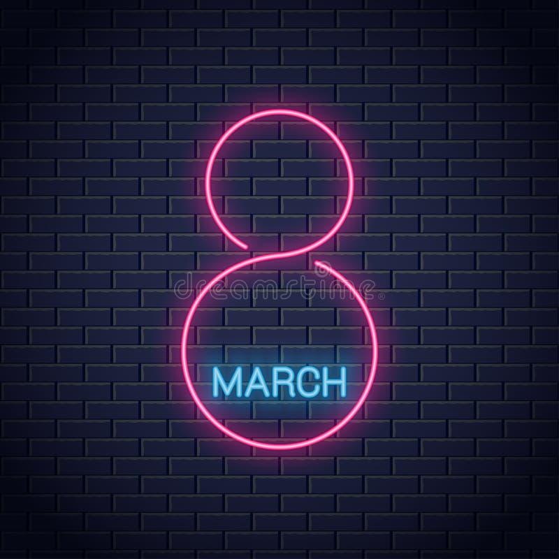 8 marszu neonowy znak Kobieta dnia 8th marszu sztandar