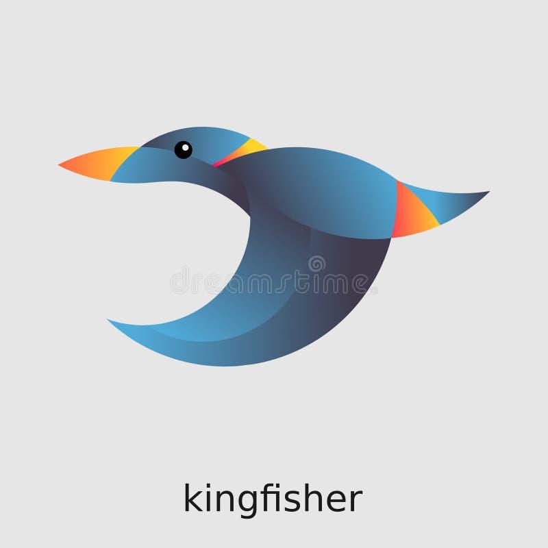 Martín pescador azul del logotipo del pájaro libre illustration
