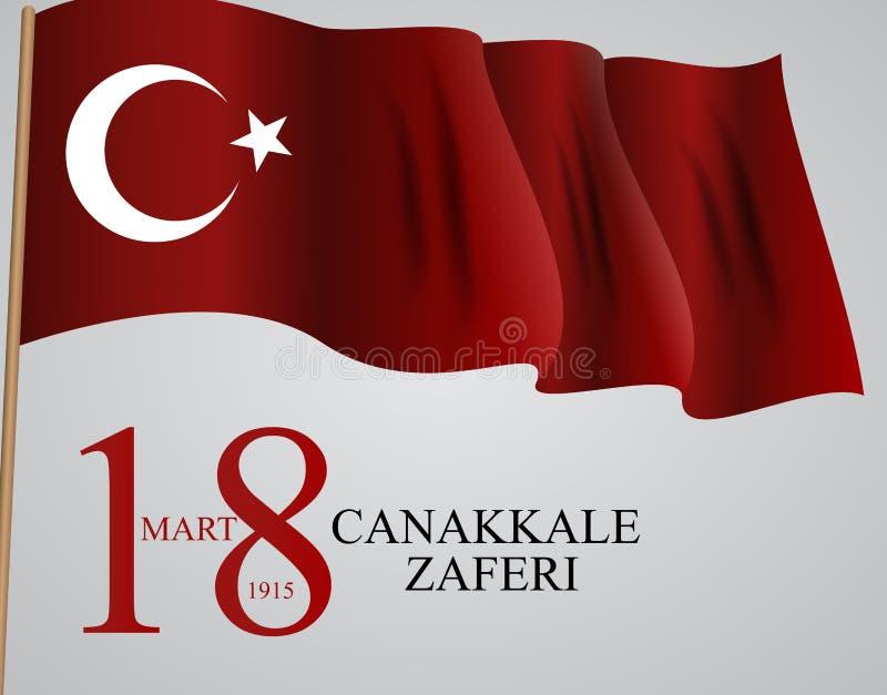 18 Mart Canakkale Zaferi Översättning: 18 mars, Canakkale Victory Day ocks? vektor f?r coreldrawillustration vektor illustrationer