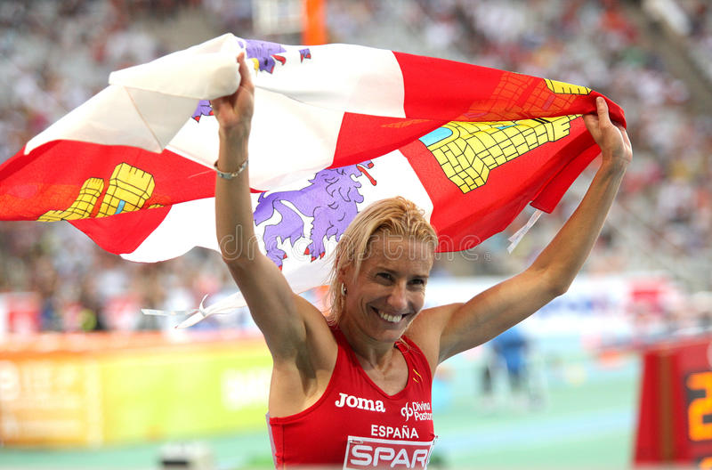 Marta Domínguez comemora a prata fotos de stock royalty free