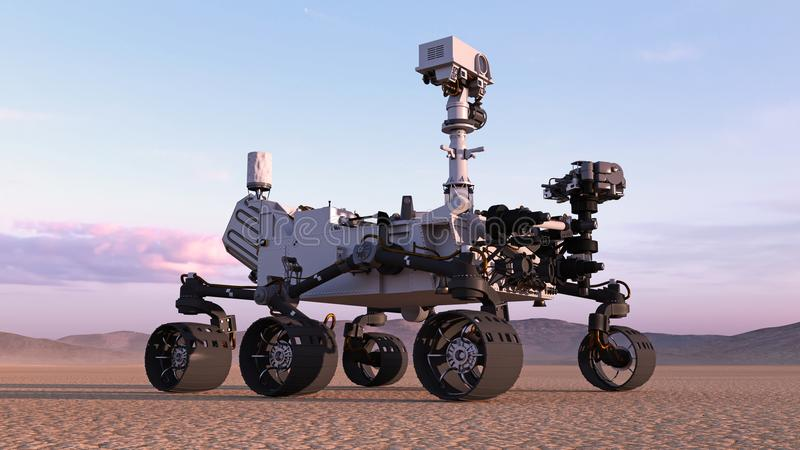 Marte Rover, vehículo de espacio autónomo robótico en un planeta abandonado con las colinas en el fondo, 3D rinde stock de ilustración