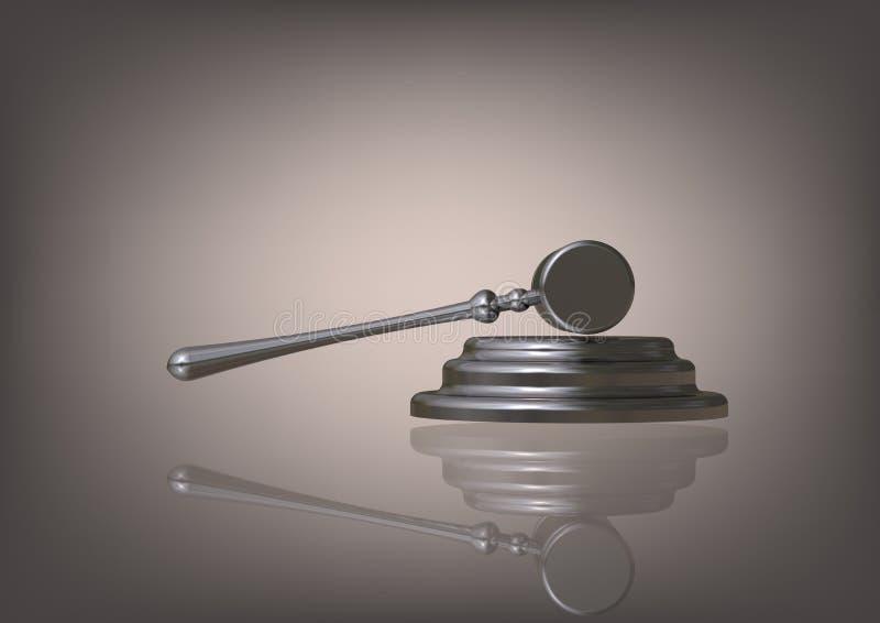 Marteau argenté du juge sur un gris illustration de vecteur