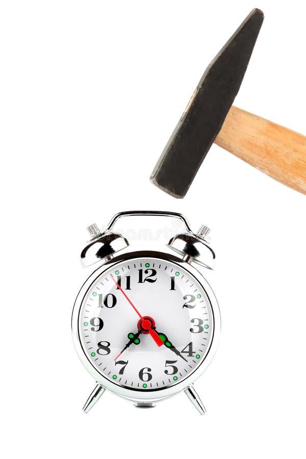 Marteau avec l'horloge d'alarme image stock