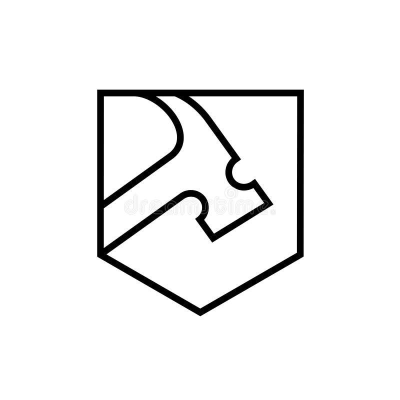 Marteau avec la forme de bouclier, ligne Art Style Logo Icon illustration de vecteur