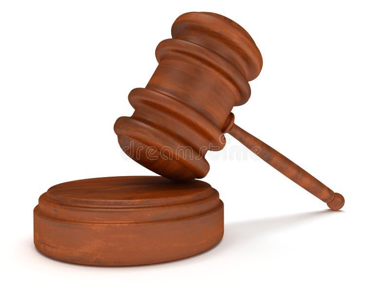 marteau 3D en bois. Juge, loi, concept de vente aux enchères illustration stock