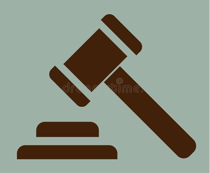 Marteau d'icône de signe de justice illustration de vecteur