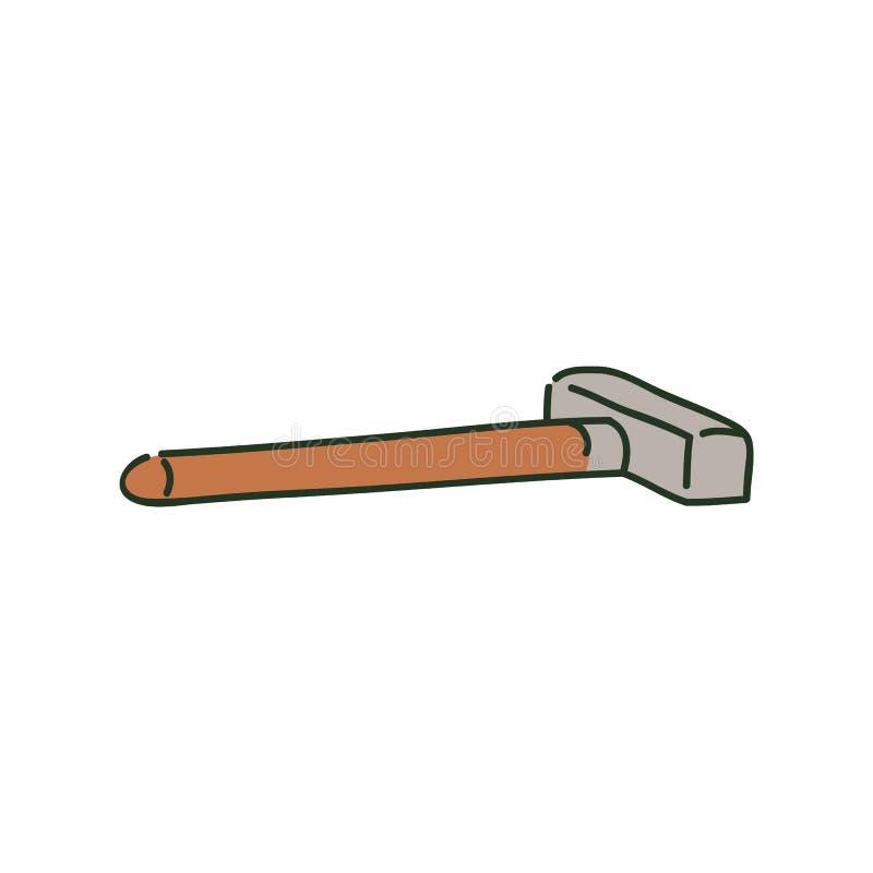Marteau de forgeron menteur en métal sur le style en bois de croquis de poignée illustration de vecteur
