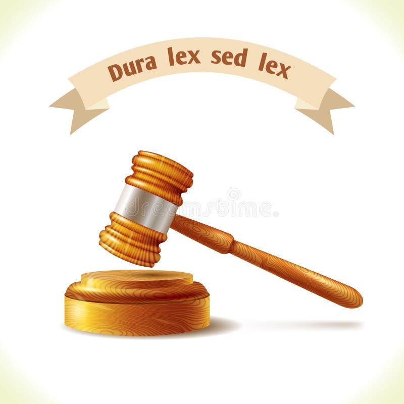 Marteau de juge d'icône de loi illustration libre de droits