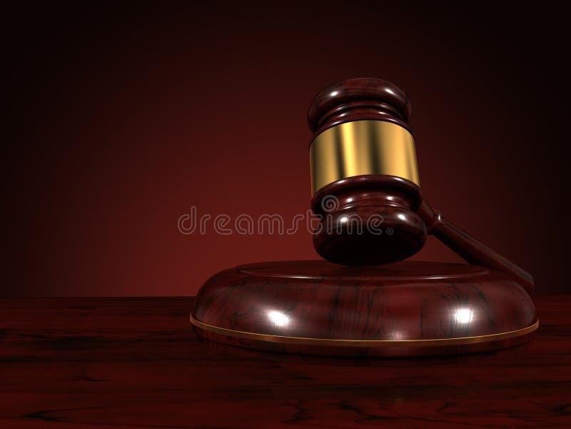 Marteau de juge d'isolement sur le fond brun illustration libre de droits